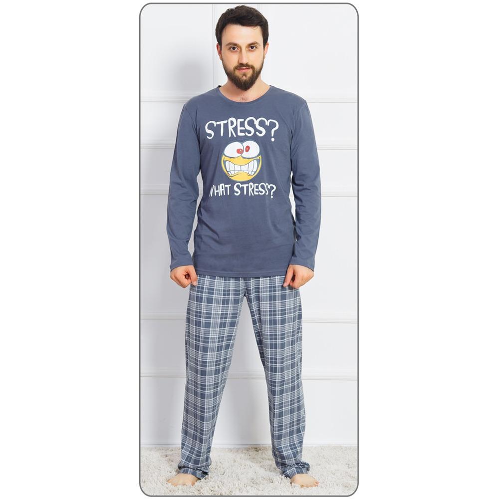 28acd54bd30d Pánské dlouhé bavlněné pyžamo Stress. Pyžamo tvoří triko s dlouhým rukávem  a dlouhé kalhoty s klasickým pasem. Triko zdobí potisk smajlíka s nápisem  What ...