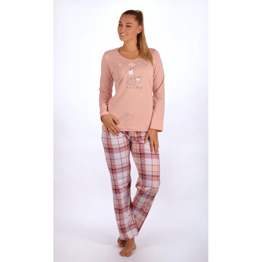 3608c38b03e7 Dámské dlouhé bavlněné pyžamo Malí méďové. Pyžamo tvoří triko s dlouhým  rukávem a dlouhé kalhoty s klasickým pasem. Triko zdobí potisk medvídků.